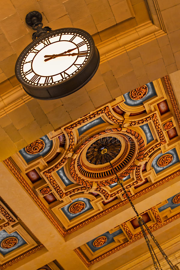 Union Station Grand Hall Clock. The Kansas City Missouri Union Station has the unique Grand Hall clock has a six-foot (1.8-m) diameter face stock images