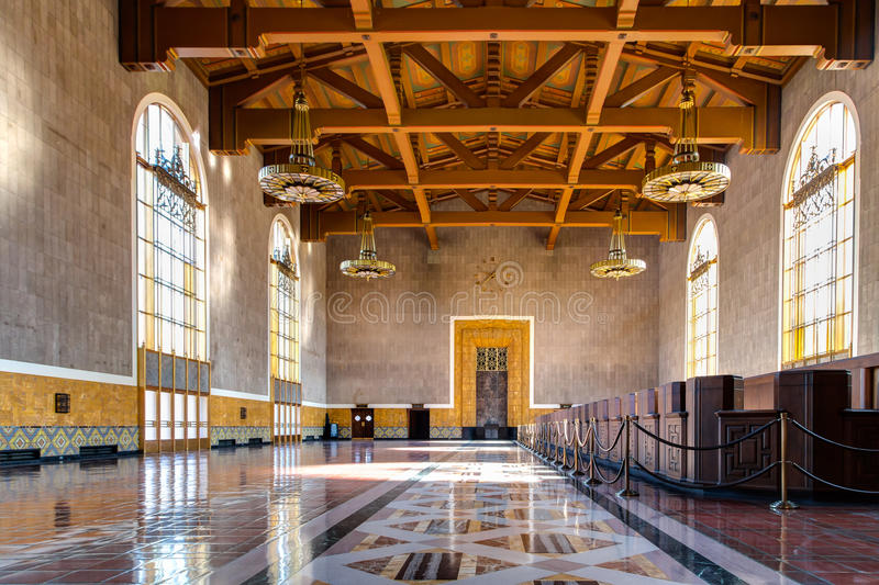 Union Station Los Angles, California. LOS ANGELES, CA/USA - AUGUST 30, 2014. Interior space of Union Station. Los Angeles Union Station is the largest railroad royalty free stock photos