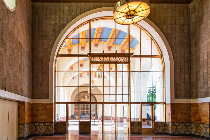 Union Station Los Angles, California. LOS ANGELES, CA/USA - AUGUST 30, 2014. Interior space of Union Station. Los Angeles Union Station is the largest railroad stock photography