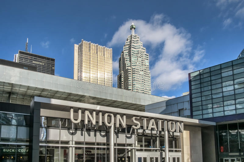 Union station Toronto. Union Station is Canada's busiest, most important multi-modal passenger transportation hub, a designated National Historic Site and a royalty free stock photos