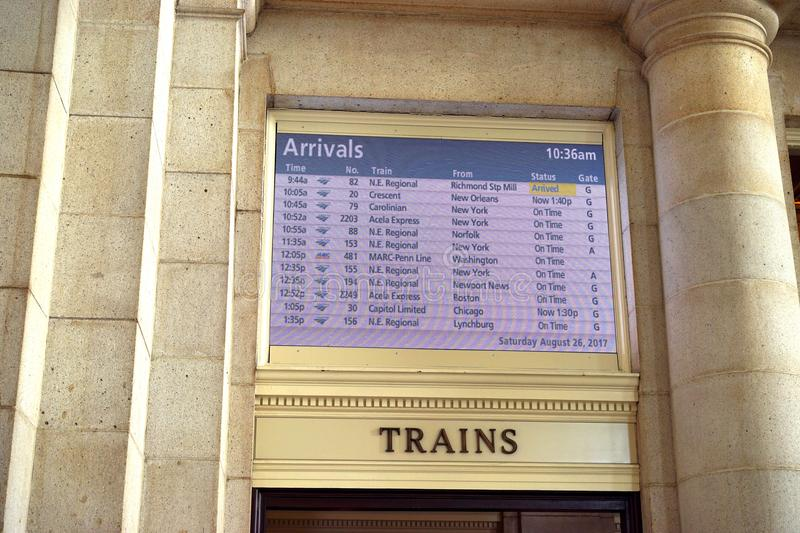 Arrival schedule at Union Station stock photography