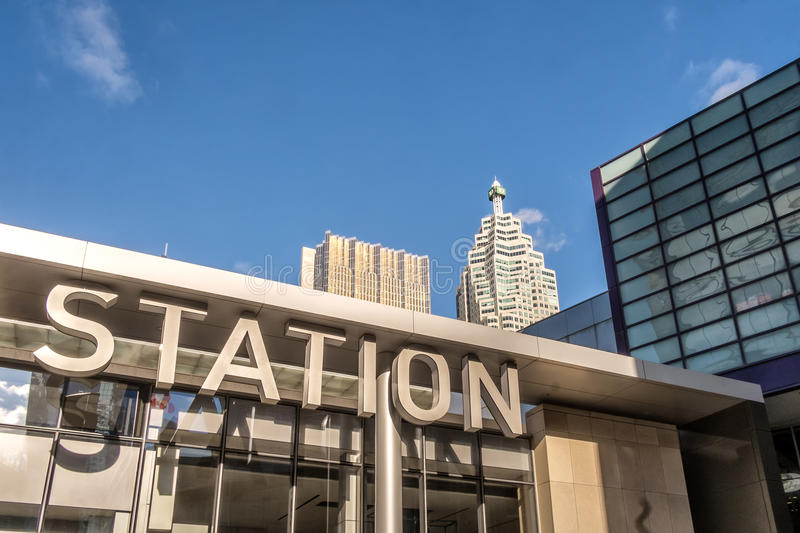 Union train station Toronto. Union Station is Canada's busiest, most important multi-modal passenger transportation hub, a designated National Historic Site and royalty free stock images