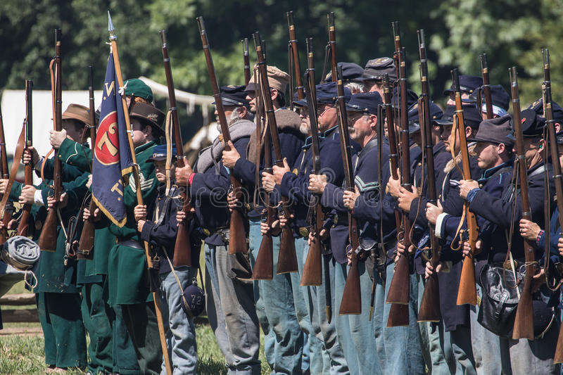 Union Troops. Civil War era soldiers after a battle at the Dog Island reenactment in Red Bluff, California stock image