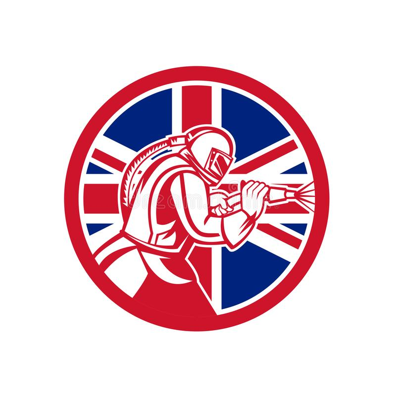 Unione britannica Jack Flag Circle di sabbiatura del sabbiatore immagine stock libera da diritti