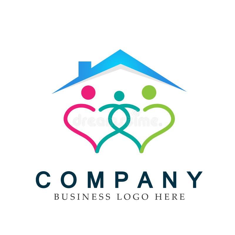 Unione del tetto della casa della casa del cuore della famiglia in un vettore dell'elemento dell'icona di logo di forma del cuore royalty illustrazione gratis