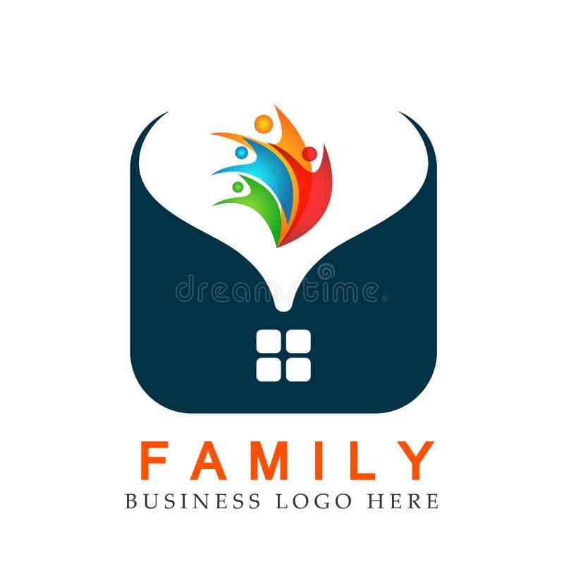 Unione del tetto della casa della casa del cuore della famiglia in un vettore dell'elemento dell'icona di logo di forma del cuore illustrazione di stock
