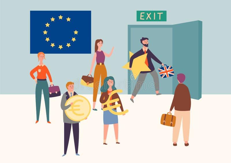 Unione Europea britannica dell'uscita, concetto di simbolo di Brexit L'Eu di permesso dell'uomo prende la stella Accordo nazional illustrazione di stock