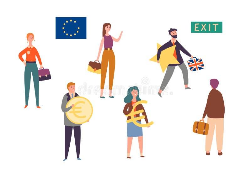 Unione Europea britannica dell'uscita, serie di caratteri di concetto di Brexit L'uomo lascia l'Eu con la stella Riforma nazional royalty illustrazione gratis