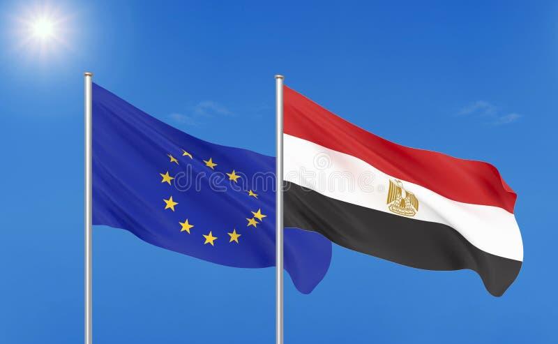 Unione Europea contro l'Egitto Bandiere seriche colorate spesse di Unione Europea e dell'Egitto illustrazione vettoriale