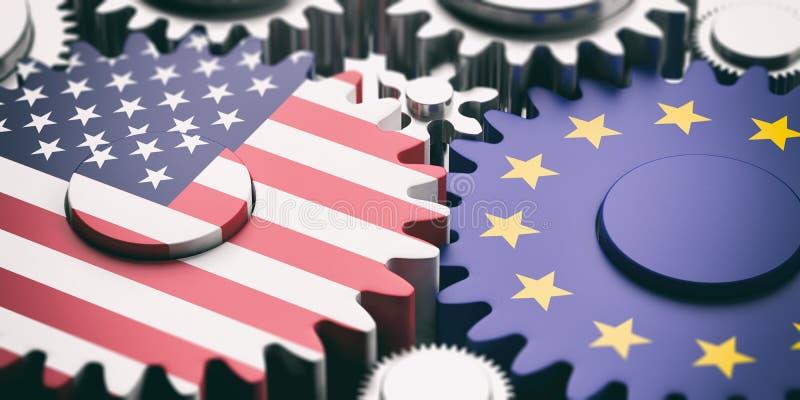 Unione Europea e gli Stati Uniti delle bandiere dell'America sulle ruote dentate del metallo illustrazione 3D royalty illustrazione gratis