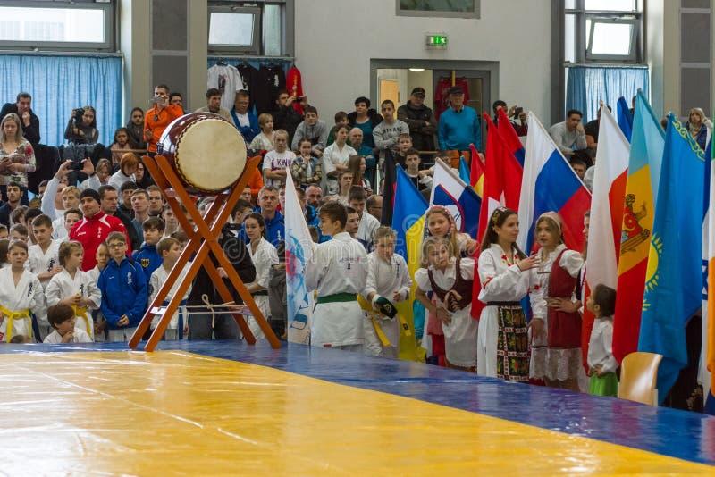 Unione europea KWU del mondo di Kyokushin di campionato per i bambini e la gioventù 2017 immagini stock libere da diritti