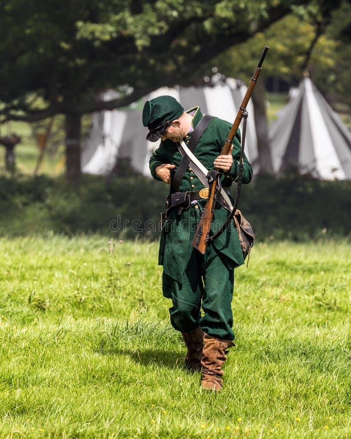 Unionsarmee-Scharfschütze des amerikanischen Bürgerkrieges lizenzfreie stockfotos