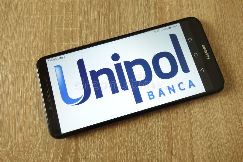 Unipol Banca S P A logo wystawiaj?cy na smartphone zdjęcie royalty free