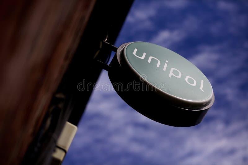 Unipol podpisuje wewnątrz Leeds Centrum Miasta, Yorkshire obrazy royalty free