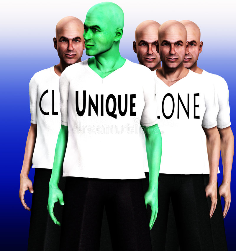 Unique 10. A conceptual image of a unique man, standing in front of a man that has been cloned many times royalty free illustration