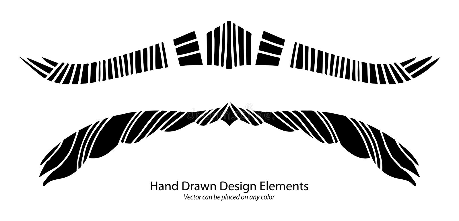 Unique abstract design element vector, paragraph or text divider with striped symmetrical pattern, stylized artsy wings and horns stock photos