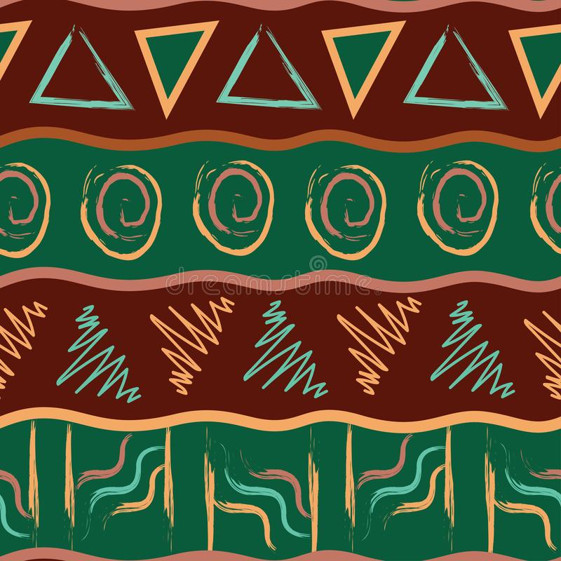 Unique abstract vector seamless pattern in African style vector illustration