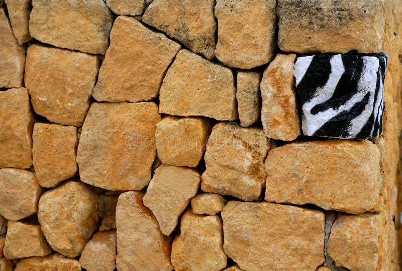 Unique, alone, one zebra texture painted stone. Unique, alone, only one zebra texture painted stone over masonry wall royalty free stock photo