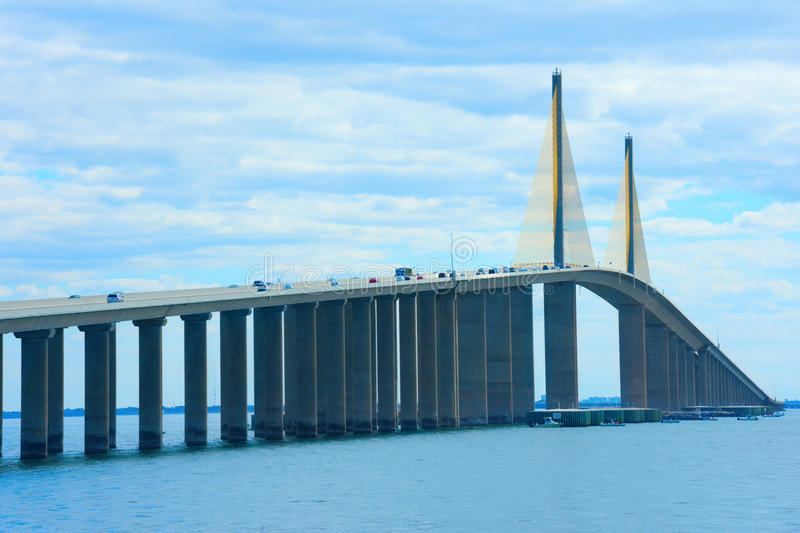 Unique angle of Sunshine Skyway Bridge over Tampa Bay Florida stock photo