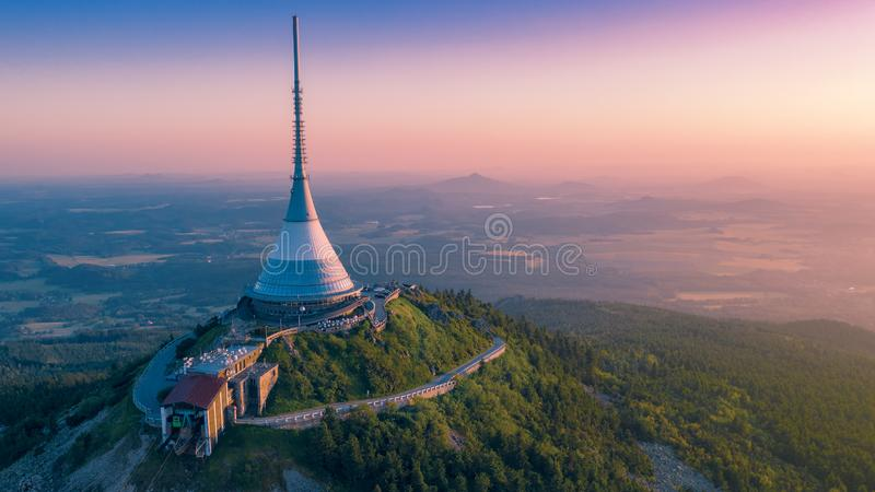Unique architectural building. Hotel and TV transmitter on the top of Jested Mountain, Liberec, Czech Republic royalty free stock photos