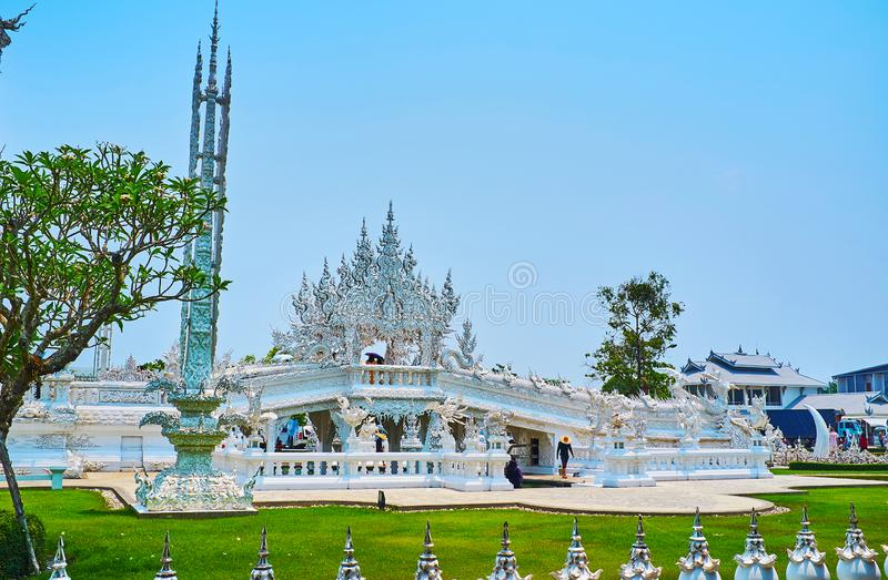 Bridge of Rebirth of White Temple, Chiang Rai, Thailand. Unique architecture of White Temple Wat Rongkhun with Bridge of Rebirth Cycle and Gate of Heaven stock images