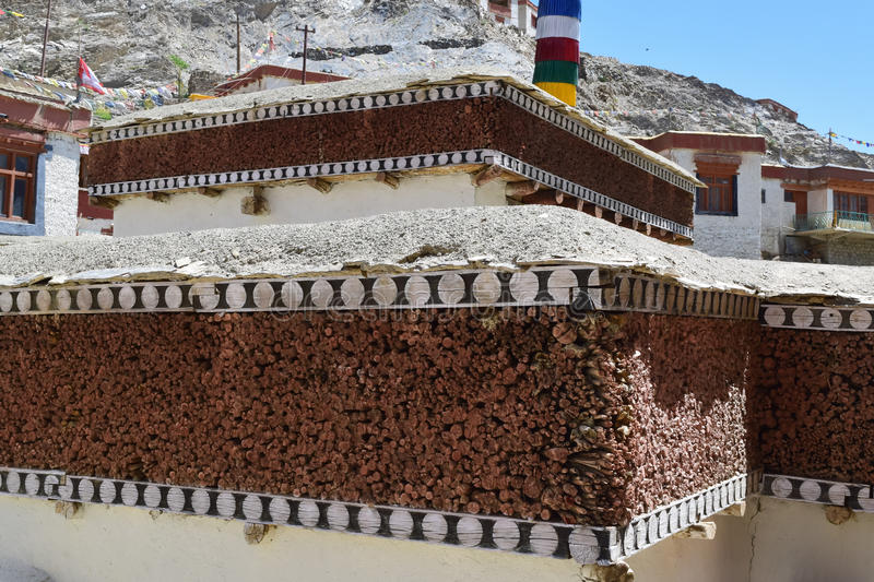 Unique art of making roof by using sticks to warmth in extreme cold of ladakh. Huge quantity of small sticks held together to provide strength and insulation stock images