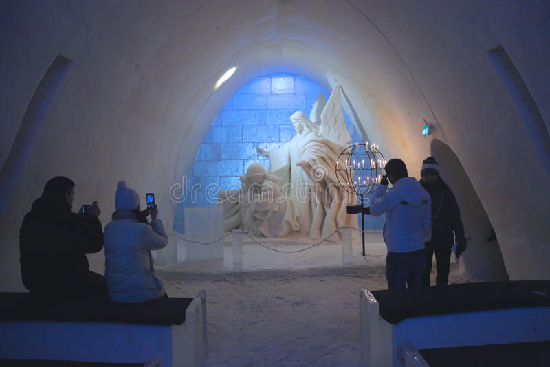 Unique beautifully decorated Snow Chapel at LumiLinna Snow Castle in Kemi, Finland. KEMI, FINLAND - FEBRUARY 18, 2017: Unique beautifully decorated Snow Chapel royalty free stock image