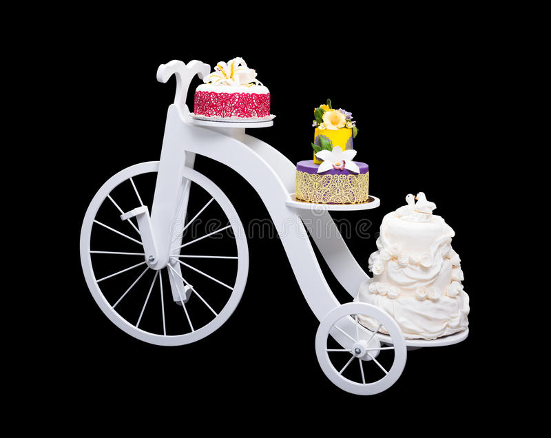 bike wedding cake stand unique bicycle cake stand with three cakes stock image 11761