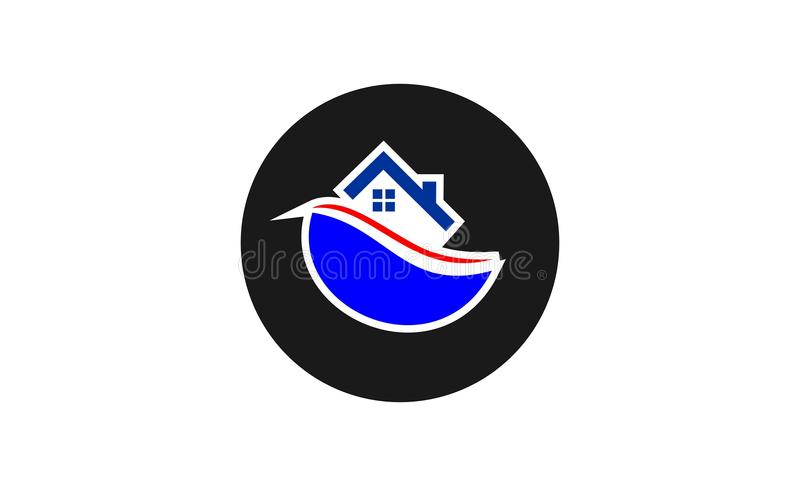 Home boat logo design royalty free illustration