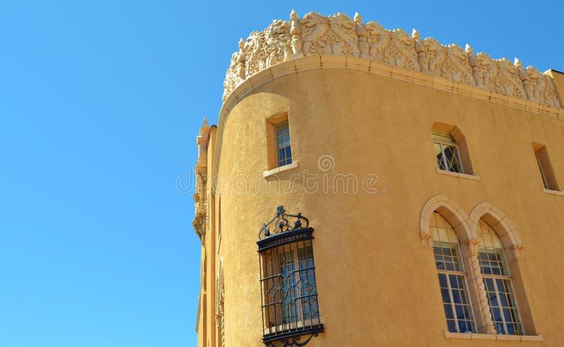 UNIQUE CARVED STONE ARCHITECTURE IN SANTA FE, NEW MEXICO stock photo
