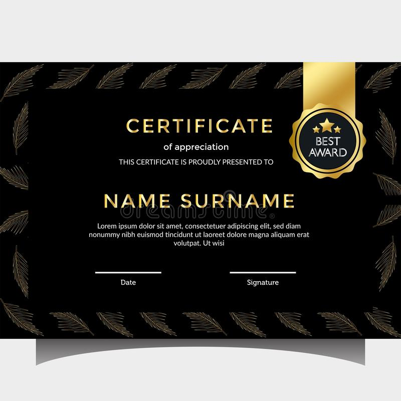 Unique certificate with dark golden stock photography