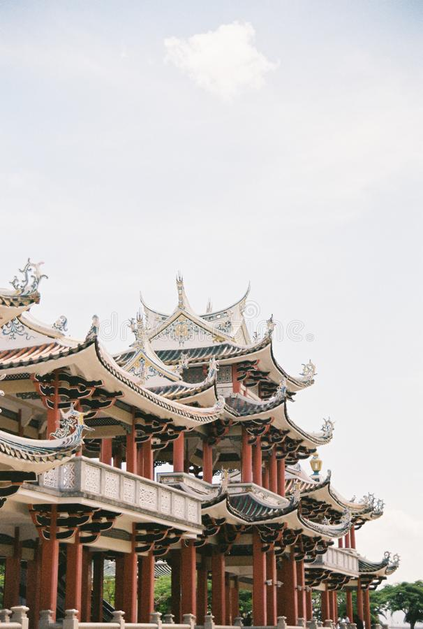 Unique Chinese style building in Xiamen, China. This is a corridor building for tourist in the place named of Turtle Garden royalty free stock images