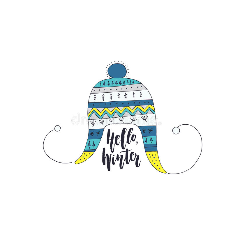 Unique Christmas Design. Handdrawn illustration of a knitted heat and lettering Hello Winter. Winter card design stock illustration