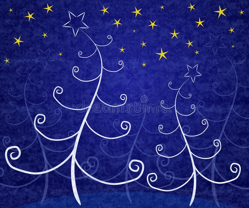 Unique Christmas Trees Blue. A background illustration featuring white abstract Christmas trees set under gold stars on blue background royalty free illustration