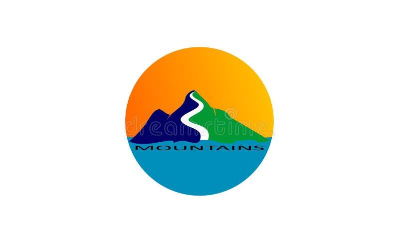 Unique round mountains logo design stock illustration