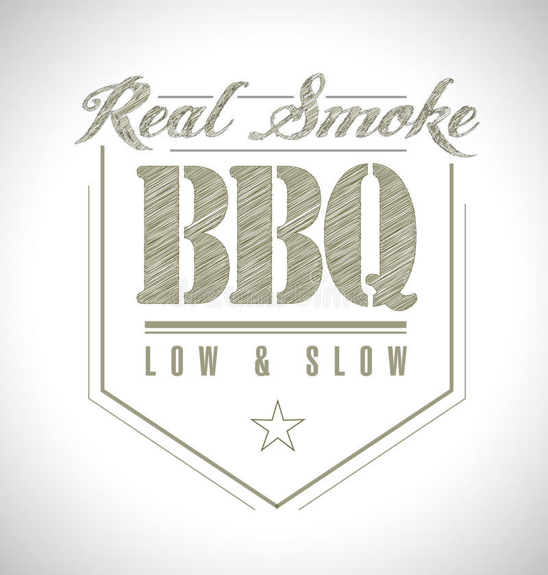Unique and Classic text Barbeque Stamp royalty free illustration
