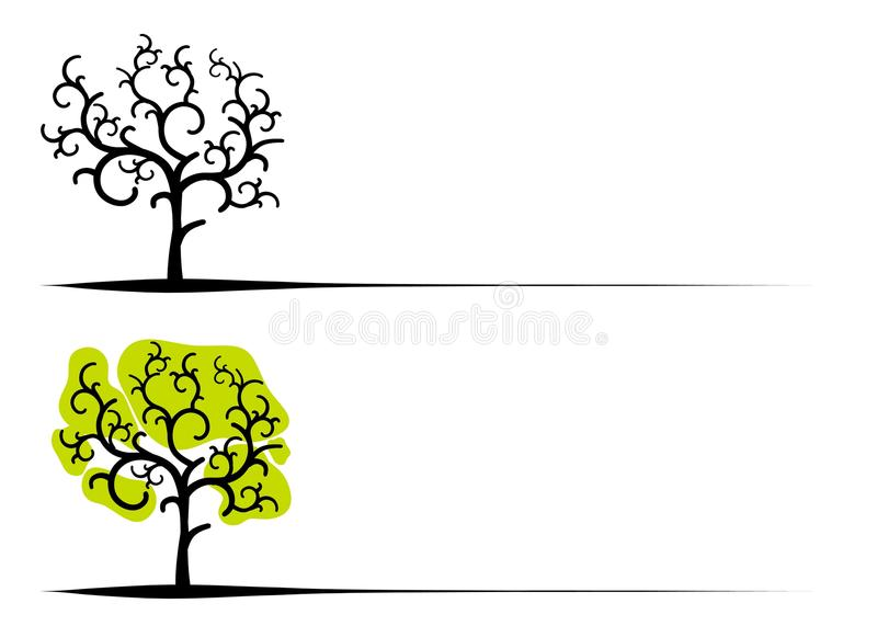 Unique Clip Art Trees. Your choice of 2 trees in black and white and black with green stock illustration