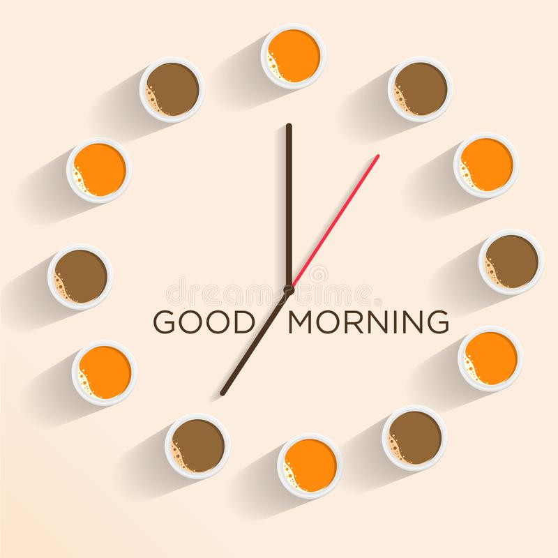 Unique Clock to Welcome the Spirit of the Morning. Realistic hour illustrations with coffee and oranges in the morning stock illustration