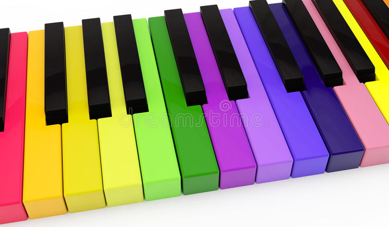 Unique color piano. Standard keyboard of a piano with non-standard color keys stock illustration