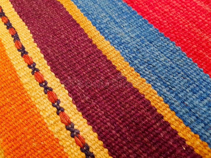 Unique Colorful Handcrafted Traditional Eastern European Rug royalty free stock images