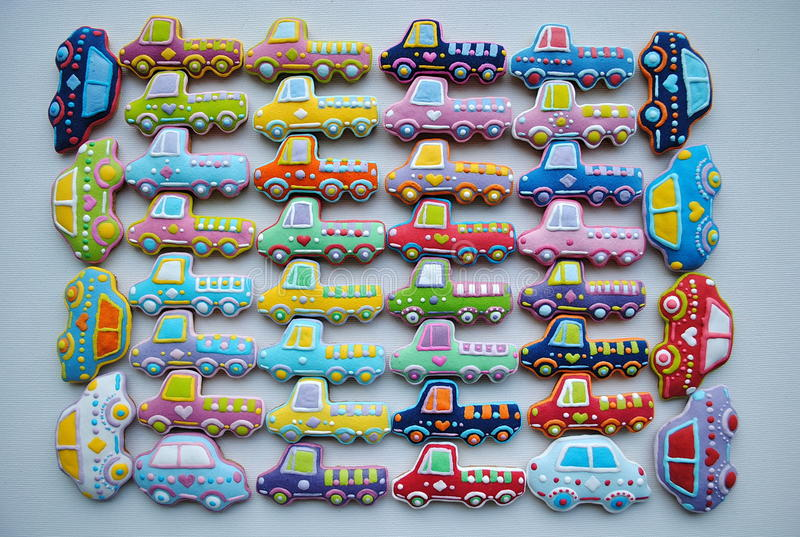 Unique , Colorful Mix Of Christmas Themed Decorated Honey Cookies in The Shape Of Car. Mixed Colorful Christmas Cookies , car shaped, honey cookies , for vector illustration