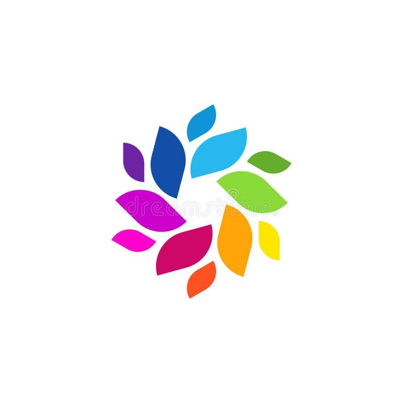 Unique Colorful Modern Abstract Leaf Shape Trendy Nature Element Logo vector illustration