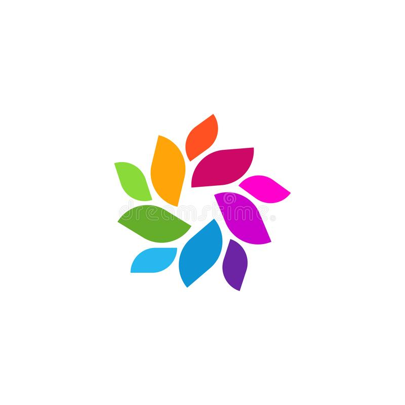 Unique Colorful Modern Abstract Leaf Shape Trendy Nature Element Logo stock illustration