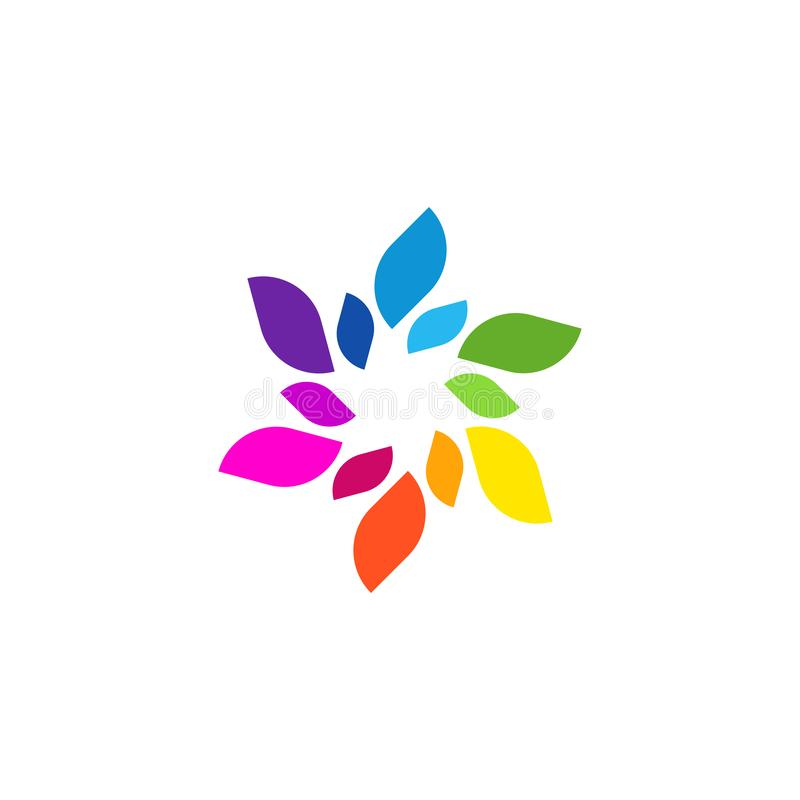 Unique Colorful Modern Abstract Leaf Shape Trendy Nature Element Logo royalty free illustration