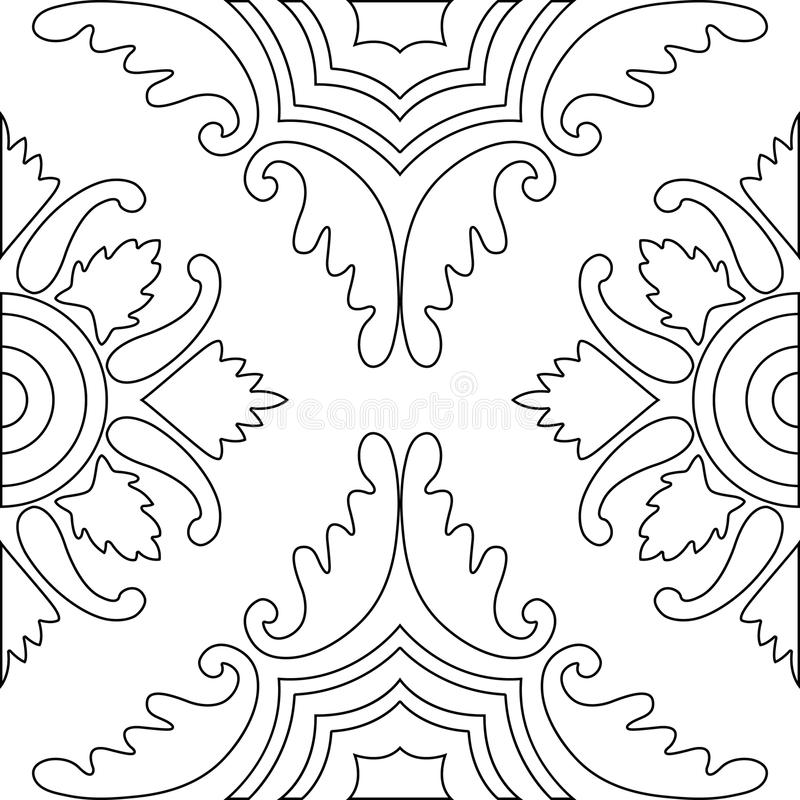 Unique coloring book square page for adults - seamless pattern. Tile design, joy to older children and adult colorists, who like line art and creation. Black vector illustration