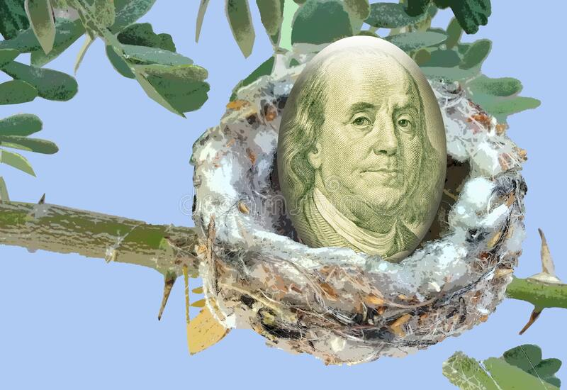 Unique computer graphic illustration concept for money idiom Nest Egg. Benjamin Franklin from 100 dollar bill superimposed on an egg in a nest represents saving stock photo