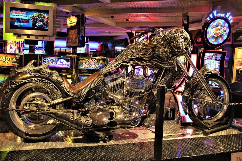 Unique Custom Metal Art Designed Motorcycle. Custom unique metal art designed motorcycle displayed in a hotel casino resort stock image