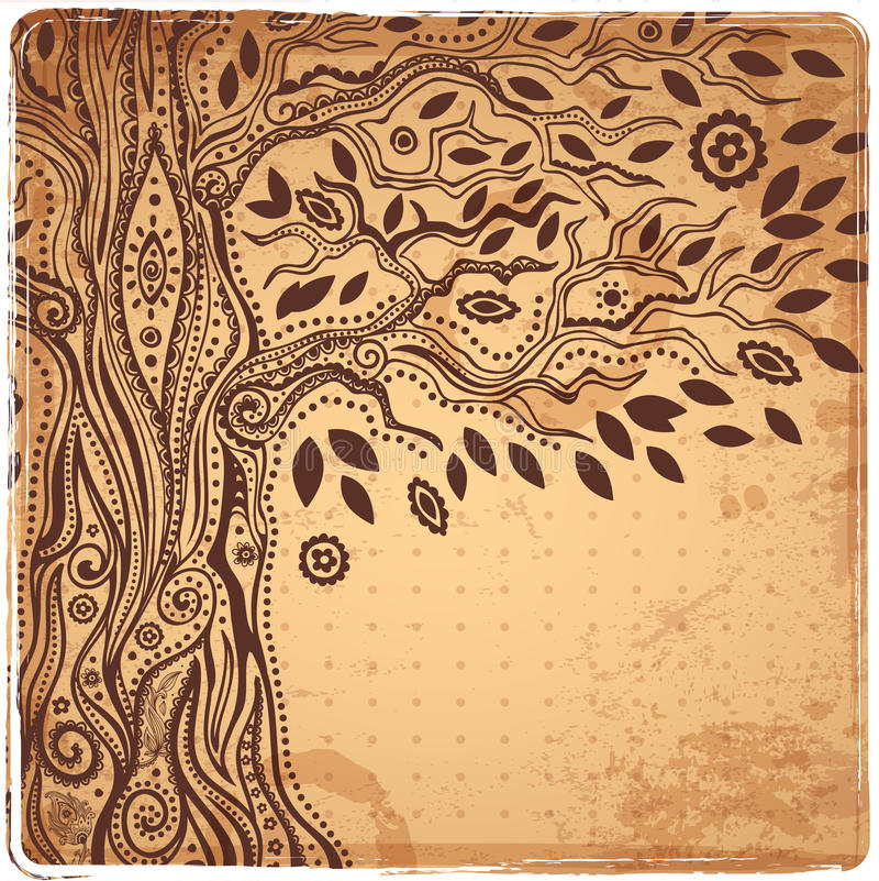 Unique ethnic tree of life royalty free illustration