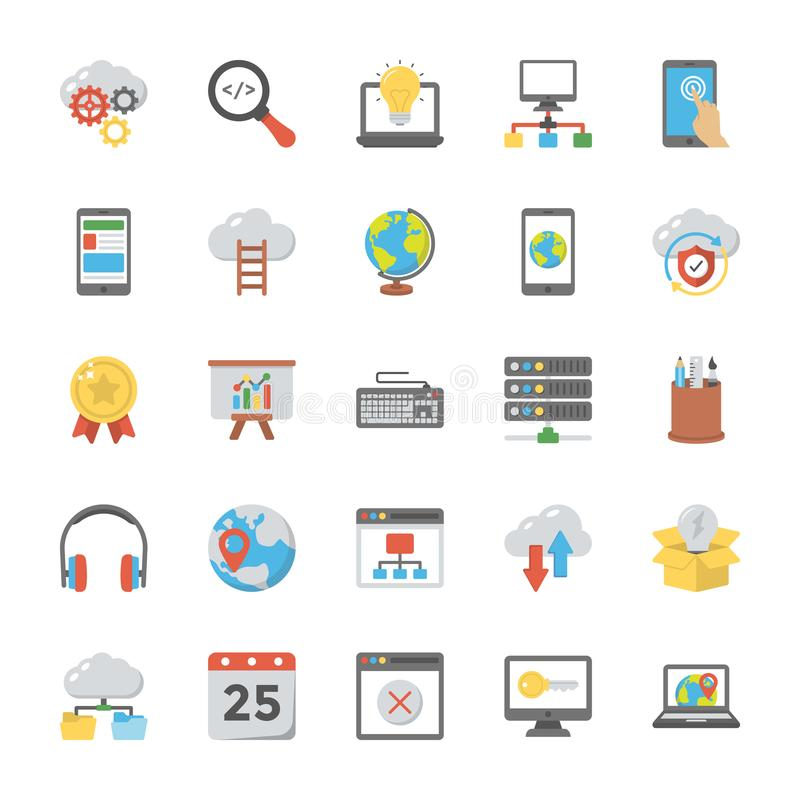 Web Design Flat Icons Set. This is a unique and eye-catching set of web designing. The colorful flat icons of web design in this pack are so creatively designed stock illustration
