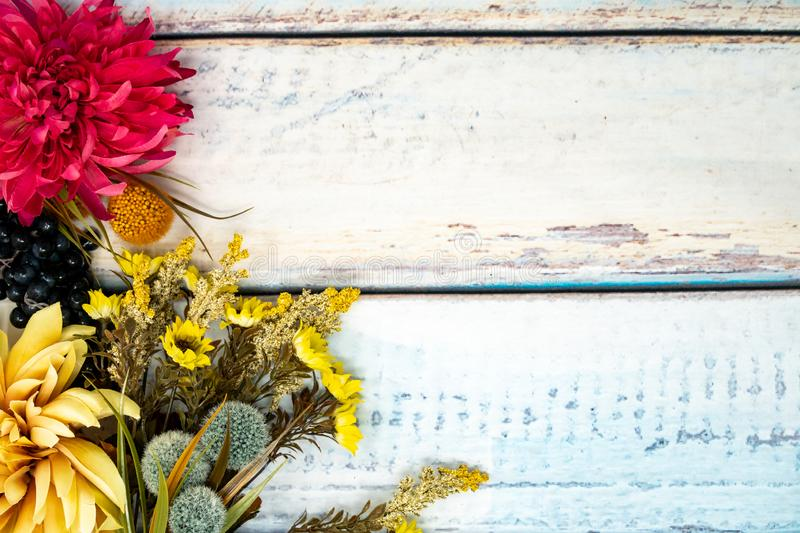 Unique fall arrangement scene with colorful mums, grapes and other fall foilage. Blue wooden background. Concept for fall and stock photos